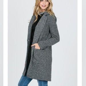 Gray Long Sleeve Trench Coat